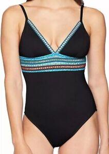 NWT La Blanca Womens V-Neck One Piece Swimsuit Black/Light Blue Size 6