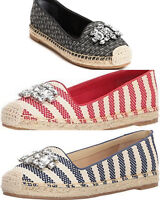 GUESS Women's Gill Ballet Flat  with Bling, Black, Red, Blue Pick Size