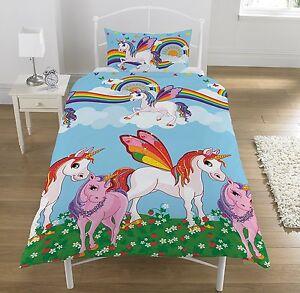 Rainbow Unicorns Single Reversible Duvet Cover Bed Set Multi