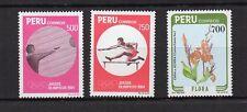 PEROU 1984 J.O. et fleur 3 timbres non oblitérés avec charnière /T4156