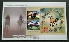 2002 New Zealand Zodiac Lunar Year of the Horse Miniatue Sheet (MS) on FDC