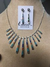 Navajo Native American Turquoise Multistone Brown Inlay Reversible Necklace #1