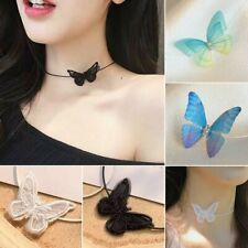 Women Lace Butterfly Pendant Necklace Ladies Chain Clavicle Choker Collar Chunky