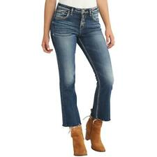 8dbae2c842c85 Silver Jeans Co. Womens Izzy Blue Cropped Flared Leg Ankle Jeans 29 BHFO  6155