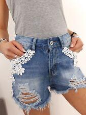 ★Jeans Shorts High Waist Hotpants Baggy destroyed Perlen Spitze weiss blau ★36 S