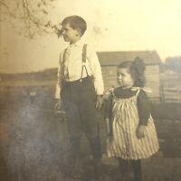 RPPC Real Photo Postcard Antique Farm Kids OREGON,IL Feedsack Dress Siblings ILL