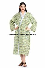 Indian Floral Print Cotton Kimono Women Sexy Bath Robe Nightwear Robes Gown Boho