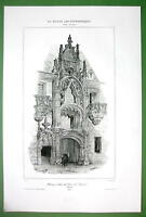 FRANCE Nancy Palace of the Dukes of Lorraine - SUPERB Antique Print