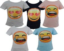 Girls Sequin Reversible EMOJI SMILEY Face Changing Sequins Top T-Shirt 4-14Years