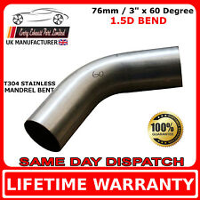 76mm x 60 Degree Mandrel Exhaust Bend T304 Stainless Steel 1.5D 1.5mm Wall