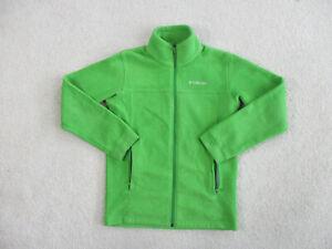 Columbia Jacket Boys Large Green White Outdoors Full Zip Fleece Coat Kids Youth