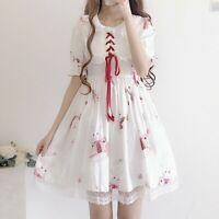 Lady Girls Lolita Dress Puff Sleeve Ruffle Rabbit Graphics Princess Kawaii Cute