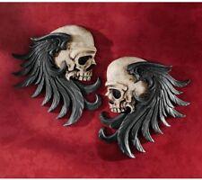 Bad Bones Wall Sculptures Decor Winged Skull Sentinel Stunning Home Display, Duo