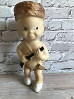 """Vintage Baby Davy Crockett Daniel Boone Squeaky Toy Doll Rubber Coon Cap 8"""""""