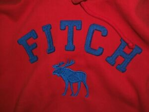 ABERCROMBIE FITCH MUSCLE XXL  HOODIE BLUE MOOSE LOGO RED  SWEATSHIRT MENS XXL