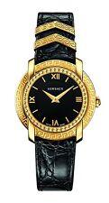 Versace Women's VAM030015 DV-25 Round Lady Gold IP Black Calfskin Watch