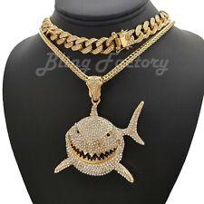"Hip Hop 6ix9ine Large Shark Pendant 18"" Franco & Iced Cuban Chain Necklace Set"