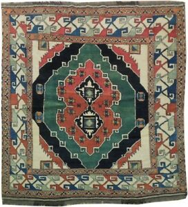 Tribal Design Kazak Soft Wool Hand-Knotted Rug 5' x 5' SQUARE