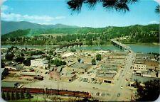 Postcard ID Bonners Ferry Aerial View - Train, Texaco Gas Station 1960s J3
