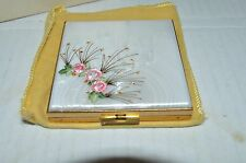 VTG 1950s Case by Zell Mother of Pearl Hand Decorated Compact NIB