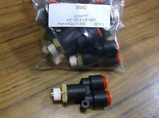 """QTY 5 SMC KQU11-35S one touch Union """"Y"""" push air fitting 3/8"""" OD X 1/4"""" NPT"""