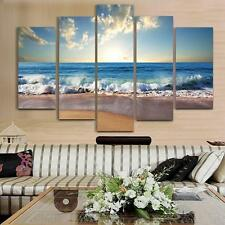 Beach Canvas Wall Decor 5 Piece Sand Ocean Nautical Picture Home Decor Frame New