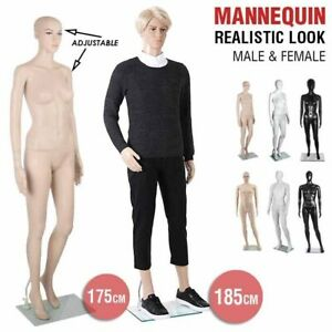 Full Body Mannequin Female Male Clothes Display Torso White Black Adjustable 185