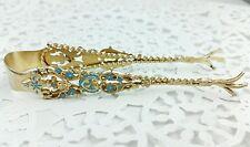 Antique Sterling Silver Gold Gilt Blue Enamel Sugar Tongs Fleur de Lis Talons