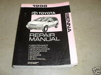 1998 Toyota Sienna VAN Service Shop Repair Manual FACTORY OEM 98 FACTORY BOOK