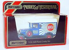 Matchbox 1:39 MORRIS COWLEY Car Van BRASSO Y-19 MIB`86!