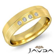 4 Stone Round Diamond Mens Half Wedding Band 6mm Ring 14k Yellow Gold 0.10Ct