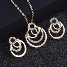 Gold Plated Geometric Multi Round Circle Rhinestone 2 pieces Jewelry Set