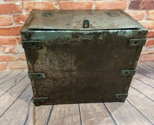 Vintage Large Metal Storage Strong Box - Chest - Trunk Lift up top