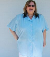 PLUS SIZE 26 - 4XL COLLARED SHIRT SKY BLUE POLY COTTON NO-iron Long Len_Sh/Slv