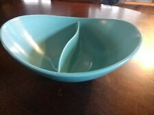 New listing Vintage Glass Divided Split Serving Bowl~Turquoise Blue~Large~Swooped Heavy~Rare