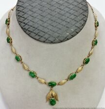 18k Gold Natural Jadeite Jade Retro 1940s Type A Untreated Necklace