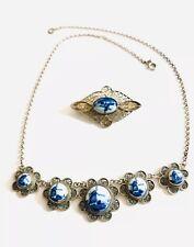 Vintage  Sterling Silver Filigree Delf Necklace And Brooch