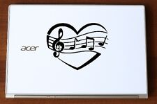 LOVE HEART MUSIC NOTES VINYL DECAL STICKER FOR CAR LAPTOP ETC.