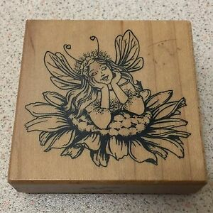 Flower Fairy - PSX - G-3247 -  Wood Mounted Rubber Stamp - Rare - Fantasy