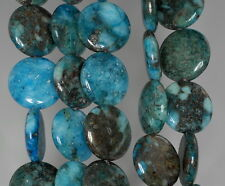 16MM PYRITE INCLUSIONS QUARTZ GEMSTONE BLUE FLAT ROUND CIRCLE LOOSE BEADS 16""