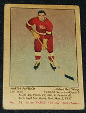 1951-1952 PARKHURST - MARTIN PAVELICH DETROIT RED WINGS - ROOKIE HOCKEY CARD #54