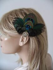 "Green Teal Duck + Peacock Feathers Fascinator Hair Clip ""Kath"" Bridal Wedding"
