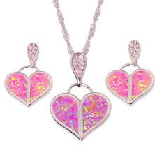 Pink Opal Topaz Silver Women Jewelry Pendant Dangle Earrings Jewelry Set OT138