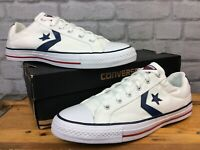 CONVERSE MENS UK 10 EU 44  STAR PLAYER OX WHITE NAVY BLUE TRAINERS  LG