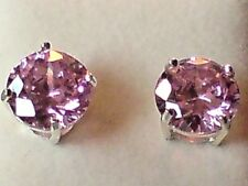 STERLING SILVER STUD EARRING with ROUND 7mm C.Z PINK STONES BOXED £9.95 NWT