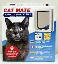 Cat Mate 4-Way Locking Cat Flap with Liner, White - New