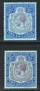 1924-32 Bermuda. SC#94-94a. SG#88,88g. Mint, Hinged, VF.