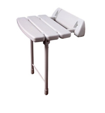 Wall Mounted Folding Shower Seat with Collapsible Legs in White (Max. 130kgs)
