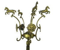 Standing Hall Tree Coat Hallway Rack Brass Hollywood regency Sunburst Horses HTF
