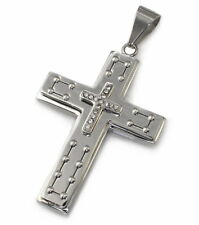 P24 Herren Edelstahl Anhänger Kreuz Halskette Schmuck Männer Kreuz Cross Pendant